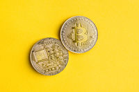 Golden bitcoins . Cryptocurrency .
