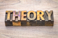 theory  word abstract in woodtype
