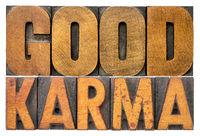 good karma word abstract in vintage wood type