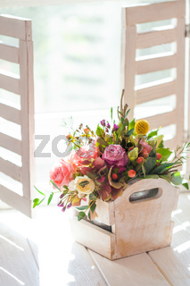 Morning flowers on the sill