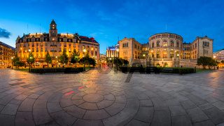 Panorama of the Grand Hotel and Parliament of Norway in the Evening, Oslo, Norway
