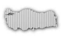 Karte der Türkei auf Wellblech - Map of Turkey on corrugated iron