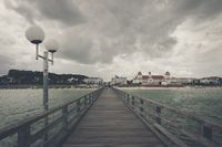View from the pier to the Baltic Sea resort of Binz