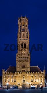 Glockenturm von Bruges bei Nacht.