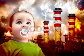 A global warming picture with a Child looking at the sky. Landscape of industries with fire and toxic gases