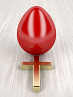 Red egg and golden cross