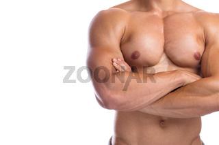 Bodybuilder Bodybuilding Muskeln anspannen posen Textfreiraum Copyspace Body Building Mann stark muskulös