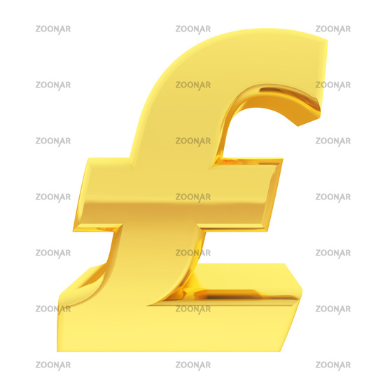 Gold pound sign with gradient reflections isolated on white. High resolution 3D image