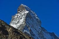 Ascent Hörnligrat at the Matterhorn peak, Zermatt, Valais, Switzerland