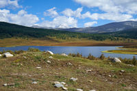 View on small lake in the vicinity of the mountain pass Ulaganskiy