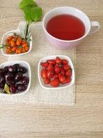 Fruit tea with cornelian cherry, rose hip and sea buckthorn