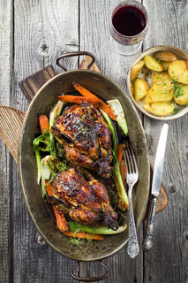 Spring Chicken with Vegetable and Potatoes in Stewpot