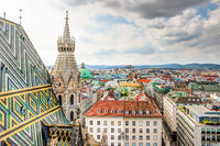 Stephansdom cathedral and aerial view over Vienna