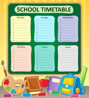 Weekly school timetable topic 6 - picture illustration.