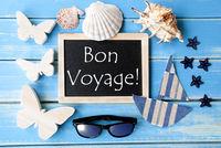 Blackboard With Maritime Decoration, Bon Voyage Means Good Trip