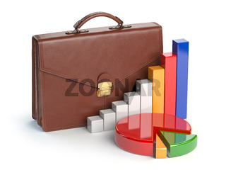 Stock market portfolio concept. Briefcase and graph isolated on white background.
