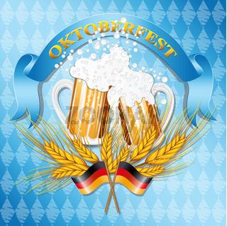 Vintage styled emblem with glasses of beer for Oktoberfest