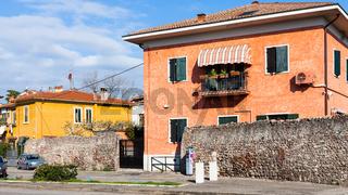 houses on street Via Pontida in Verona city