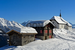 Kapelle Maria zum Schnee im Winter, Bettmeralp, Wallis, Schweiz
