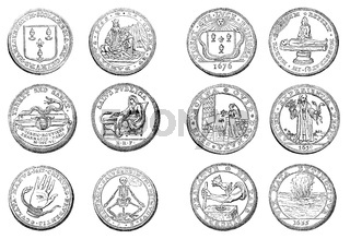 Medical numismatic coins of the Faculty of Medicine of Paris, 17th century