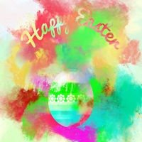 Happy Easter greeting card. Easter egg on a watercolor background. Bright colors. Digital art