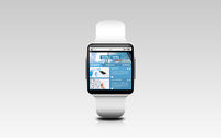 close up of smart watch with business news