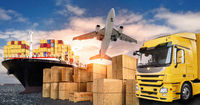 Truck, airplane and ship for the transport of goods