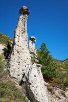 Nature phenomenon Stone Mushrooms in Altai mountains near river Chulyshman