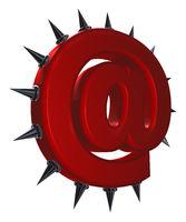 emailsymbol mit stacheln auf weißem hintergrund - 3d illustration