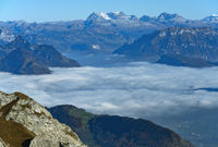 View from the Pilatus massif on the autumnal sea of fog over Lake Lucerne,