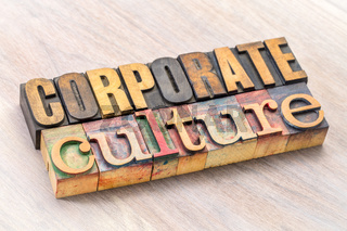 corporate culture word abstract in wood type