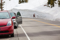Road of snow wall