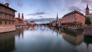 Zurich Skyline and Limmat River in the Evening, Zurich, Switzerland