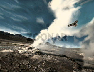The eagle flies through the ejection of steam from the geyser. Valley of Geysers in the Atacama Desert, Chile
