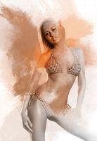 Beautiful woman in bikini. Image combined with an digital effects. Digital art