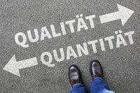 Qualität Quantität Erfolg erfolgreich Business Konzept Entscheidung entscheiden