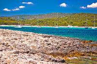Sakarun beach yachting bay view on Dugi Otok island