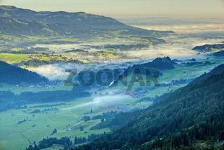 Panorama vom Schattenberg in das Illertal, Allgäu, Bayern, Deutschland, Europa