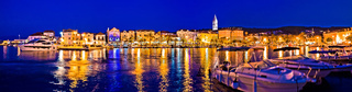Supetar waterfront evening panoramic view from sea