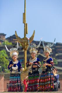 Miao Women Traditional Festival Regalia Headdress