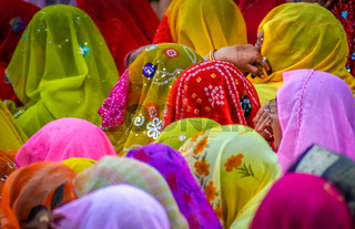 Colourful crowd of Indian women