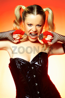 Woman with handcuffs
