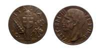 ten 10 cents Lire Copper Coin 1936 Empire Vittorio Emanuele III Kingdom of Italy