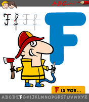 letter f with cartoon fireman