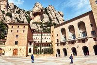 Main square of Santa Maria de Montserrat. Spain