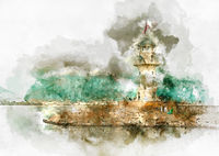 Digital watercolor painting of a lighthouse in port Alanya, Turkey.
