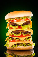 Tasty and appetizing hamburger on a darkly green