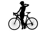 Silhouette of a naked woman with a bicycle. Studio shot, isolated on a white background