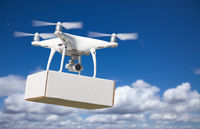 Unmanned Aircraft System (UAS) Quadcopter Drone Carrying Blank Package In The Air.