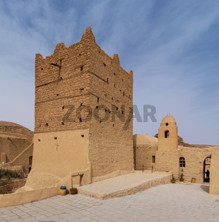 Small fort and tower at the Monastery of Saint Paul the Anchorite, located in the Eastern Desert, near the Red Sea mountains, Egypt
